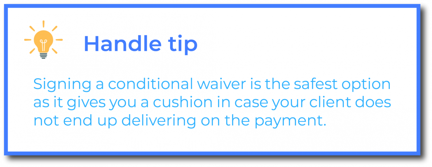 California Conditional Waiver Tip
