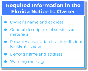 Florida Notice to Owner requirements