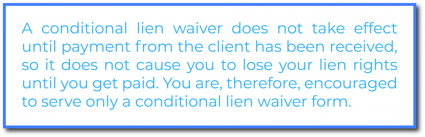 Conditional lien waiver
