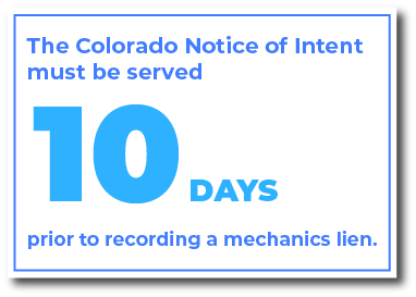 When do you serve a Colorado Notice of Intent